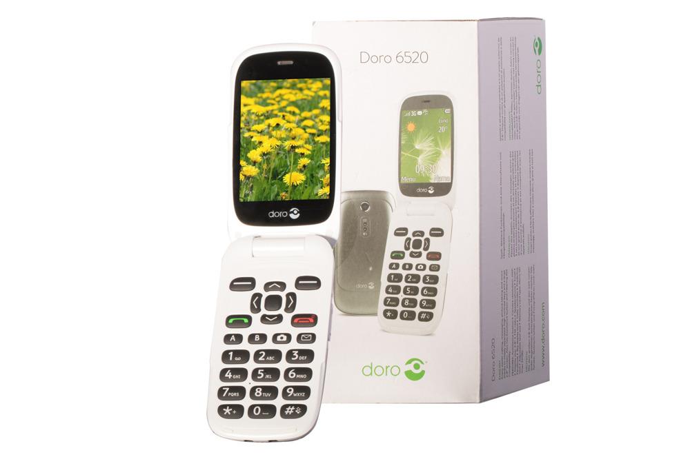 Doro 6520 Flip Phone White / Graphite