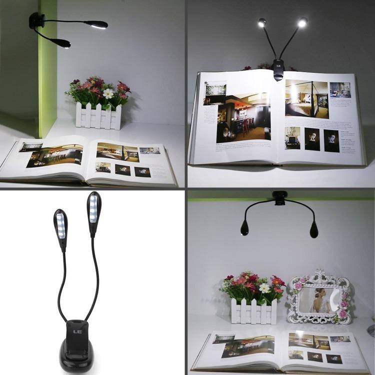 Podwójna lampka LED z klipsem do czytania, laptopa